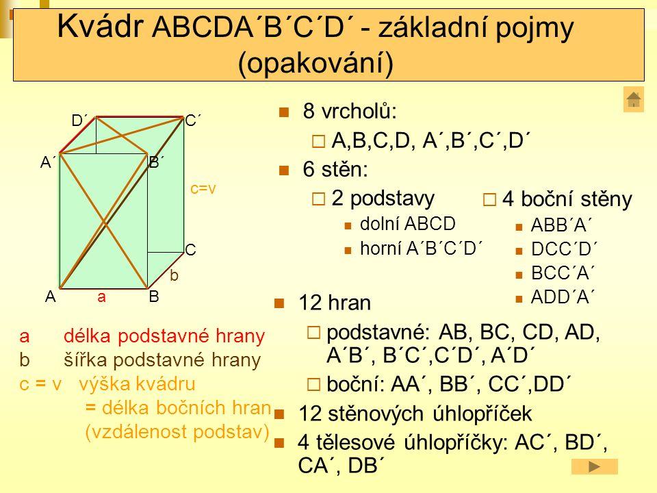 Kvádr ABCDA´B´C´D´ - základní pojmy (opakování) 8 vrcholů:  A,B,C,D, A´,B´,C´,D´ 6 stěn:  2 podstavy dolní ABCD horní A´B´C´D´ A DC aB D´C´ A´ b c=v a délka podstavné hrany b šířka podstavné hrany c = v výška kvádru = délka bočních hran (vzdálenost podstav)  4 boční stěny ABB´A´ DCC´D´ BCC´A´ ADD´A´ 12 hran  podstavné: AB, BC, CD, AD, A´B´, B´C´,C´D´, A´D´  boční: AA´, BB´, CC´,DD´ 12 stěnových úhlopříček 4 tělesové úhlopříčky: AC´, BD´, CA´, DB´ B´