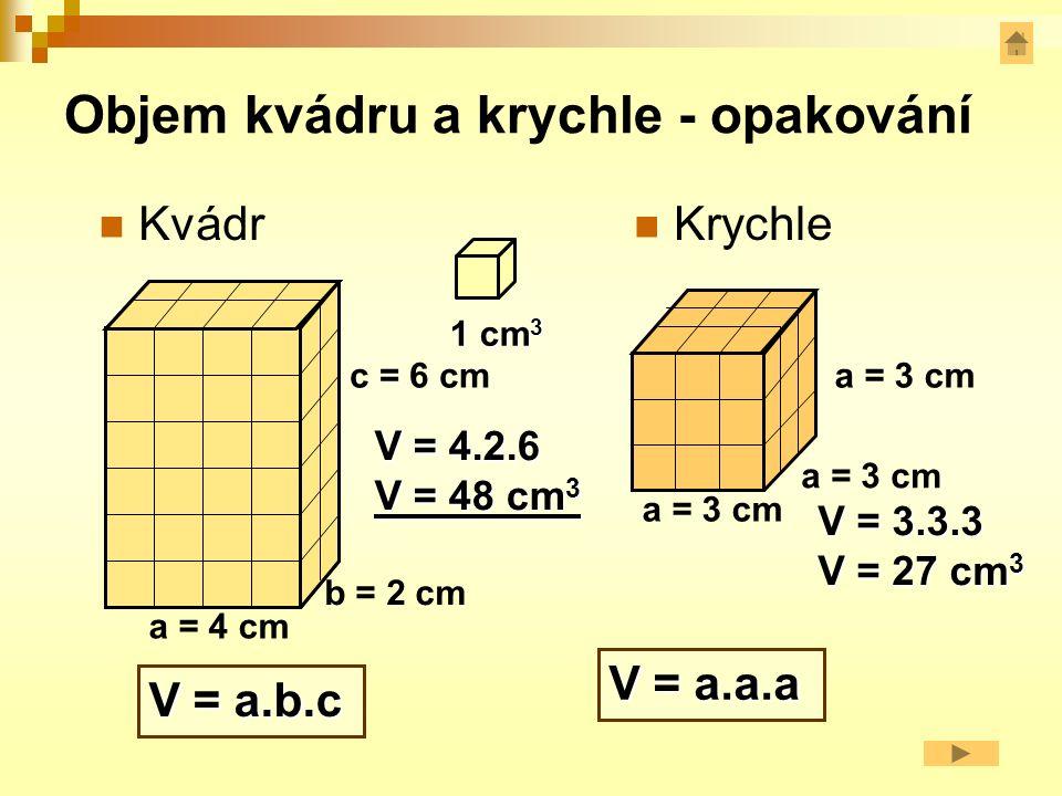 Krychle - opakování 8 vrcholů 6 stěn 12 hran A C aB D´ C´ A´B´ a délka hrany krychle a a objem V = a.a.a V = 2.2.2 V = 8 cm 3 povrch S = 6.a.a S = 6.2.2 S = 24 cm 2 stěnové úhlopříčky tělesové úhlopříčky Vypočti objem a povrch, je-li a= 2 cm.
