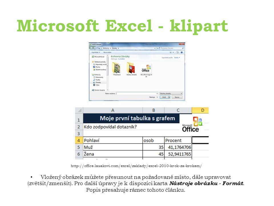 Microsoft Excel - klipart Vložený obrázek můžete přesunout na požadované místo, dále upravovat (zvětšit/zmenšit).