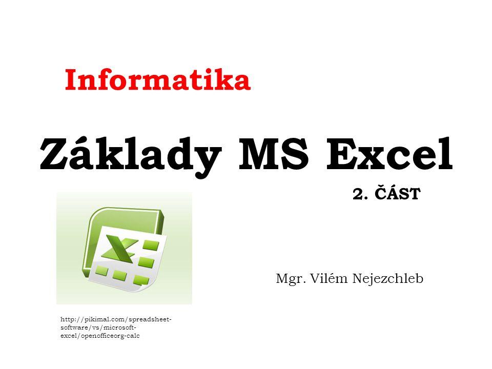 Informatika Základy MS Excel 2. ČÁST Mgr.