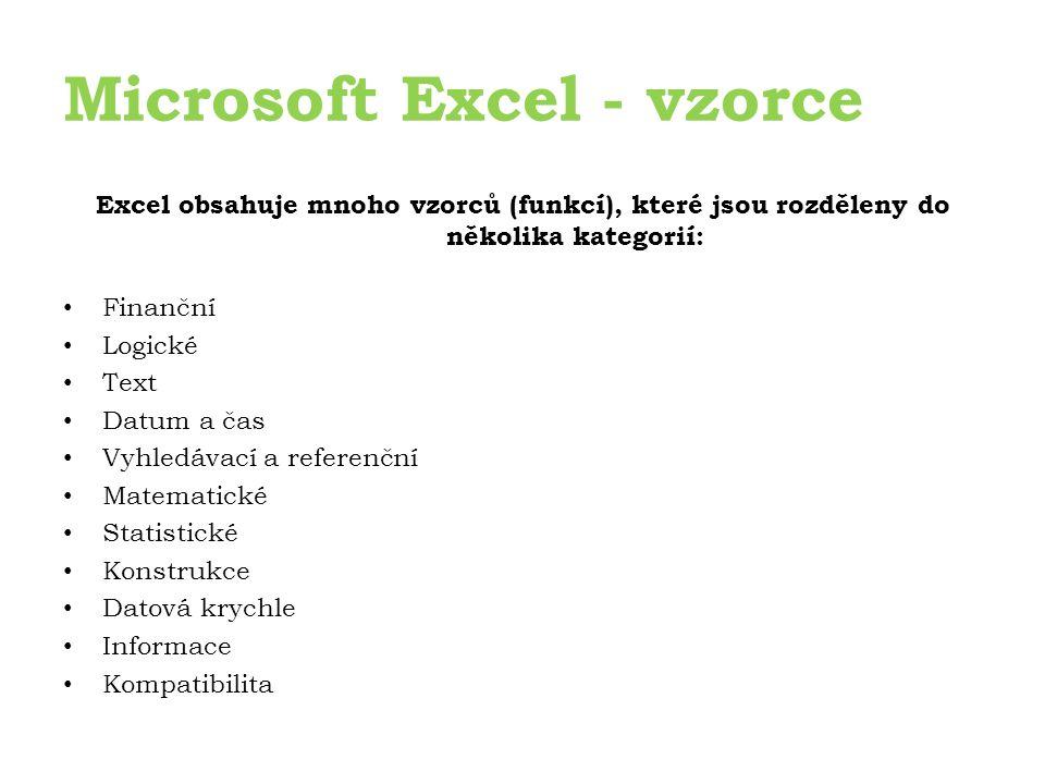 Microsoft Excel - vzorce Excel obsahuje mnoho vzorců (funkcí), které jsou rozděleny do několika kategorií: Finanční Logické Text Datum a čas Vyhledávací a referenční Matematické Statistické Konstrukce Datová krychle Informace Kompatibilita