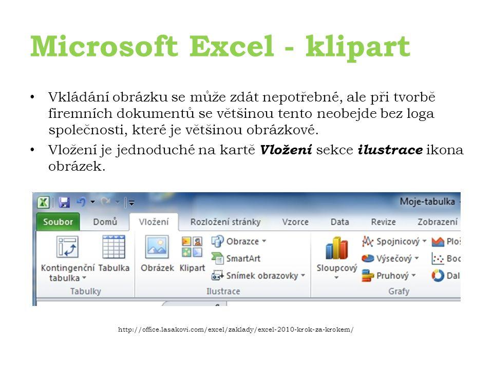 Microsoft Excel - klipart Vkládání obrázku se může zdát nepotřebné, ale při tvorbě firemních dokumentů se většinou tento neobejde bez loga společnosti, které je většinou obrázkové.