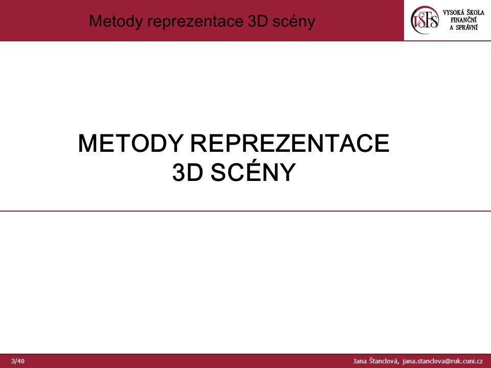 Metody reprezentace 3D scény 1.