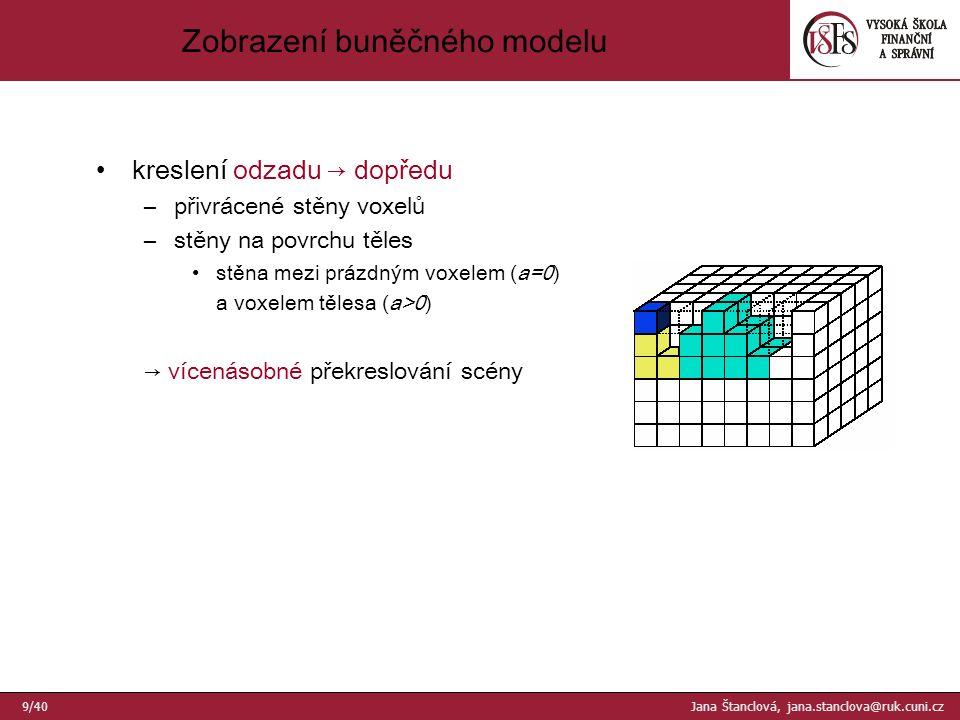 """Oktantový strom (""""octree ) těleso = sjednocení prostorových buněk různé velikosti –3D analogie kvadrantového stromu 10/40 Jana Štanclová, jana.stanclova@ruk.cuni.cz"""