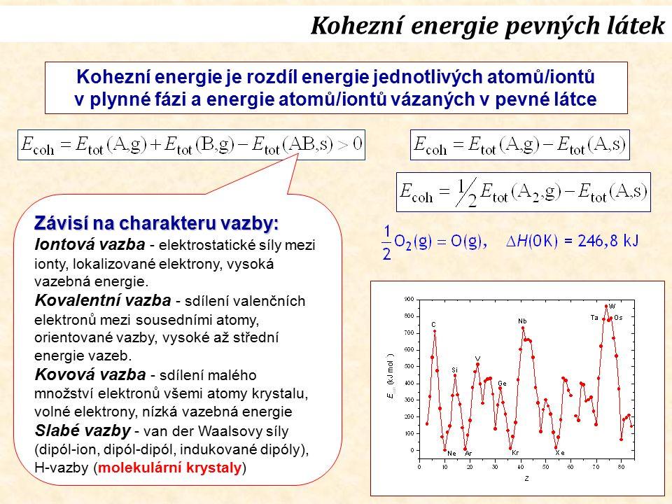 Kohezní energie je rozdíl energie jednotlivých atomů/iontů v plynné fázi a energie atomů/iontů vázaných v pevné látce Závisí na charakteru vazby: Iontová vazba - elektrostatické síly mezi ionty, lokalizované elektrony, vysoká vazebná energie.