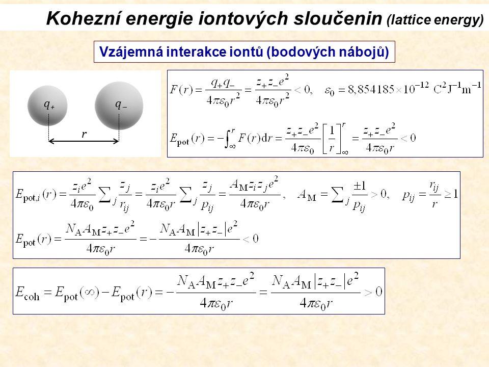 Kohezní energie iontových sloučenin (lattice energy) Vzájemná interakce iontů (bodových nábojů) q+q+ qq r
