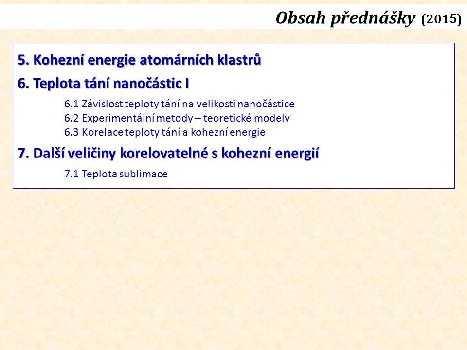 Obsah přednášky (201 5 ) 5. Kohezní energie atomárních klastrů 6.