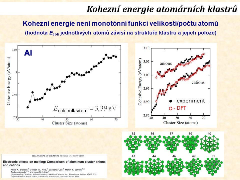 Kohezní energie atomárních klastrů Kohezní energie není monotónní funkcí velikosti/počtu atomů (hodnota E coh jednotlivých atomů závisí na struktuře klastru a jejich poloze) - experiment - DFT Al