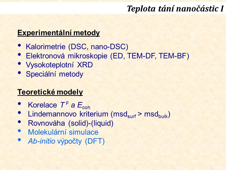 Teplota tání nanočástic I Experimentální metody Kalorimetrie (DSC, nano-DSC) Elektronová mikroskopie (ED, TEM-DF, TEM-BF) Vysokoteplotní XRD Speciální metody Teoretické modely Korelace T F a E coh Lindemannovo kriterium (msd surf > msd bulk ) Rovnováha (solid)-(liquid) Molekulární simulace Ab-initio výpočty (DFT)