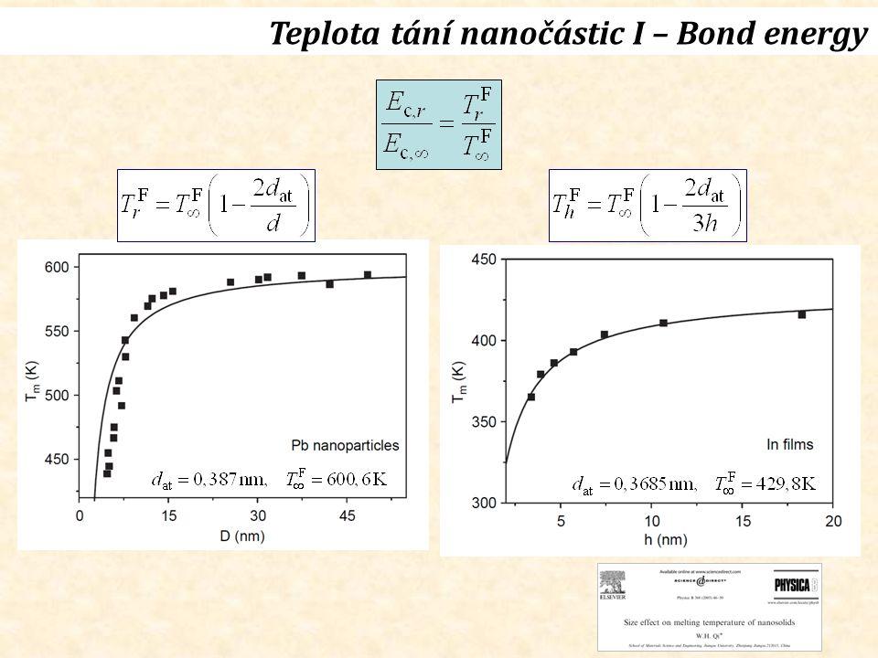 Teplota tání nanočástic I – Bond energy