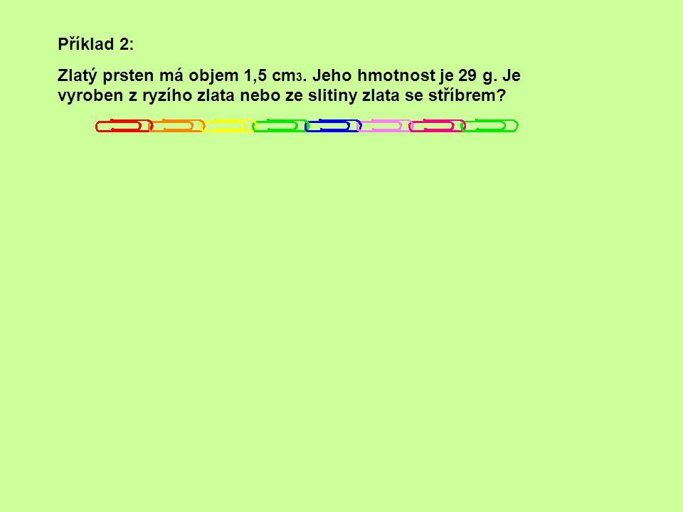 Příklad 1: Plná kovová figurka vojáka má objem 17 cm 3 a hmotnost 46 g. Z jakého je kovu