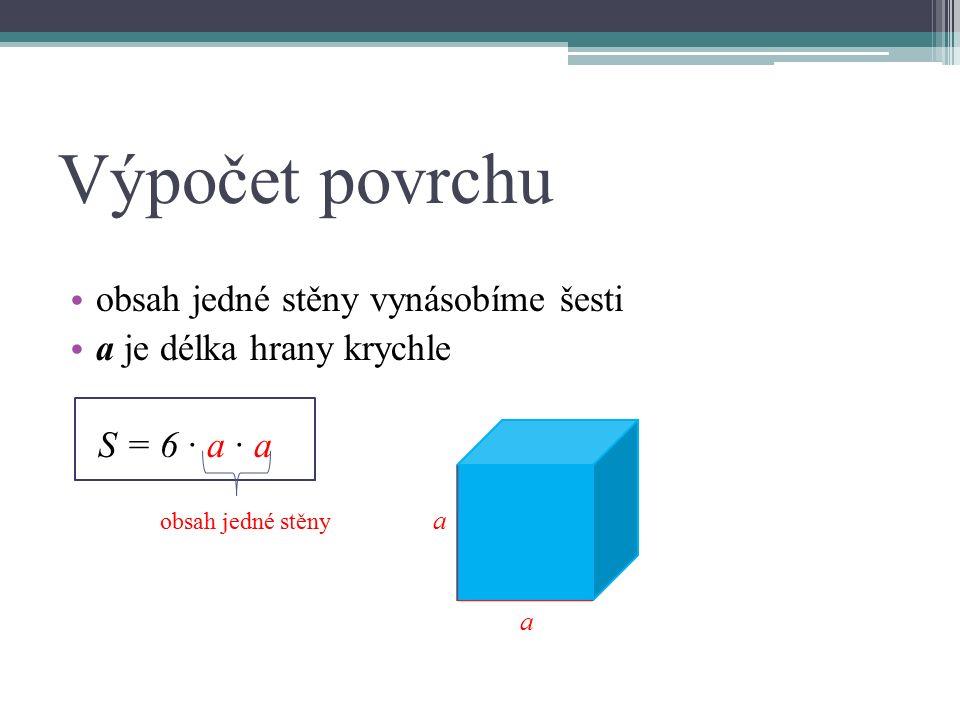Výpočet povrchu obsah jedné stěny vynásobíme šesti a je délka hrany krychle S = 6 ∙ a ∙ a obsah jedné stěny a a