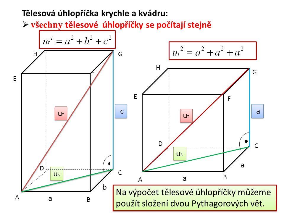usus usus utut utut a b c c c utut utut usus usus a a a a A B C D E F GH Tělesová úhlopříčka krychle a kvádru:  všechny tělesové úhlopříčky se počítají stejně A B C D E F G H Na výpočet tělesové úhlopříčky můžeme použít složení dvou Pythagorových vět.