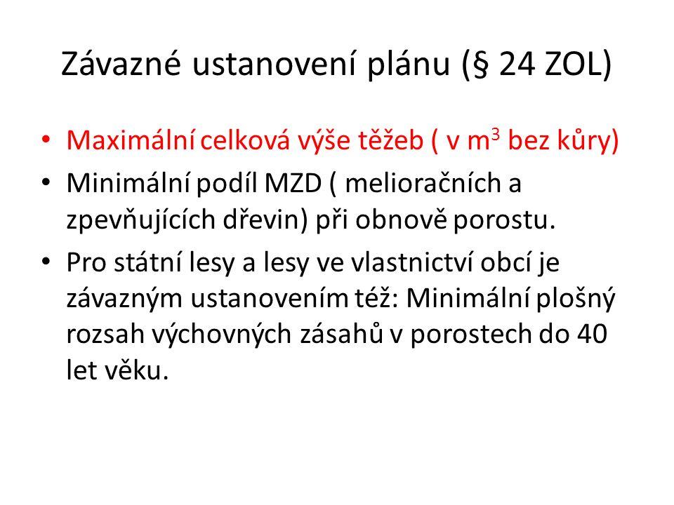Závazné ustanovení plánu (§ 24 ZOL) Maximální celková výše těžeb ( v m 3 bez kůry) Minimální podíl MZD ( melioračních a zpevňujících dřevin) při obnov
