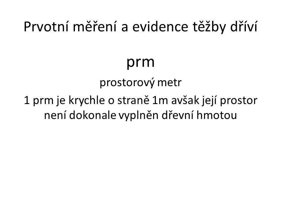 Prvotní měření a evidence těžby dříví prm prostorový metr 1 prm je krychle o straně 1m avšak její prostor není dokonale vyplněn dřevní hmotou