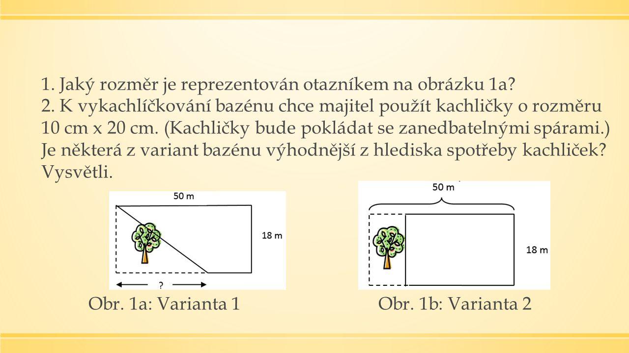 1. Jaký rozměr je reprezentován otazníkem na obrázku 1a.
