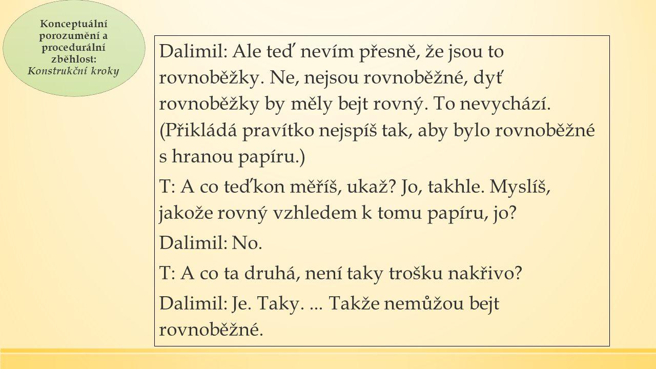Konceptuální porozumění a procedurální zběhlost: Konstrukční kroky Dalimil: Ale teď nevím přesně, že jsou to rovnoběžky.