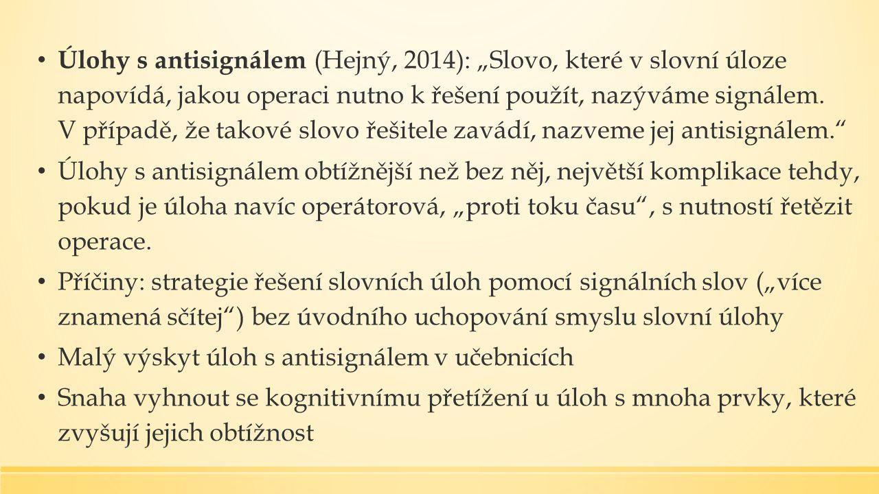 """Úlohy s antisignálem (Hejný, 2014): """"Slovo, které v slovní úloze napovídá, jakou operaci nutno k řešení použít, nazýváme signálem."""