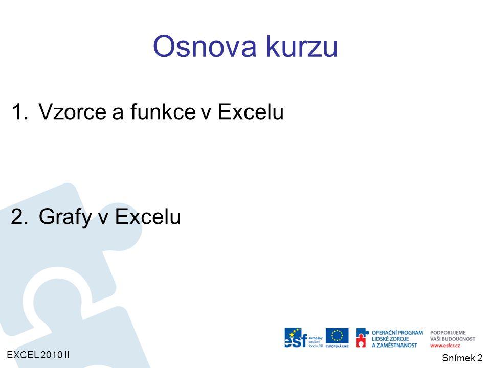 1.Vzorce a funkce v Excelu EXCEL 2010 II Snímek 3 Vzorce jsou rovnice, které provádějí výpočty s hodnotami zadanými v listu.