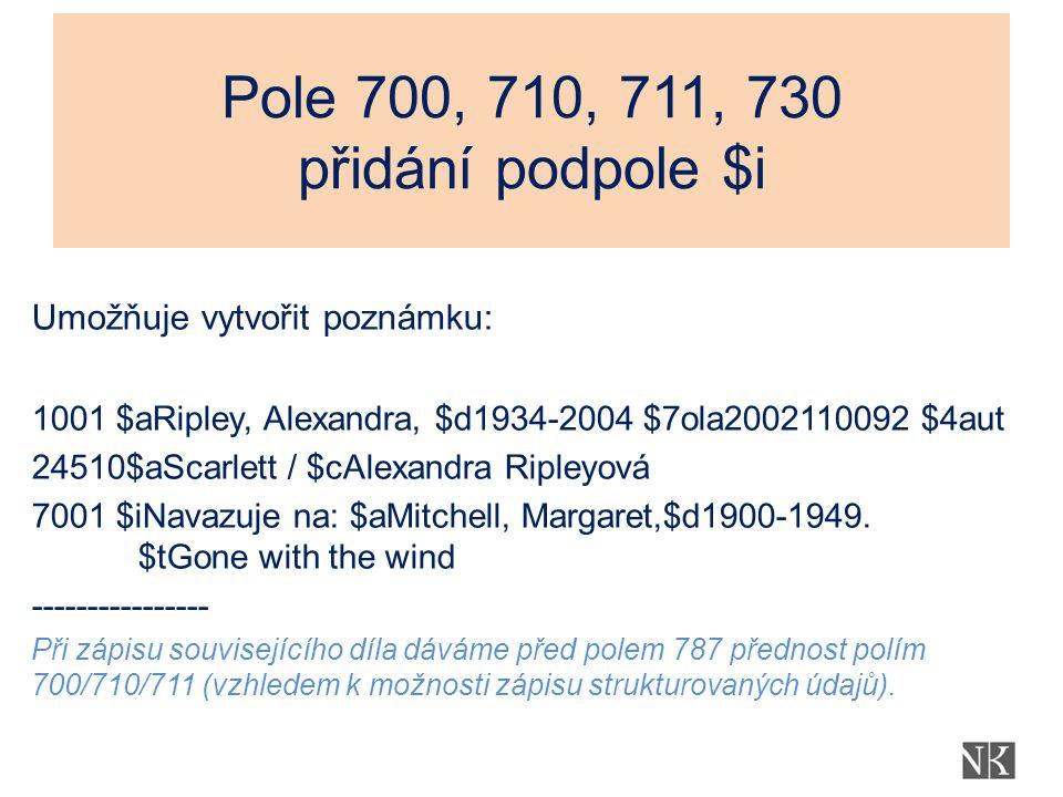 Pole 700, 710, 711, 730 přidání podpole $i Umožňuje vytvořit poznámku: 1001 $aRipley, Alexandra, $d1934-2004 $7ola2002110092 $4aut 24510$aScarlett / $cAlexandra Ripleyová 7001 $iNavazuje na: $aMitchell, Margaret,$d1900-1949.