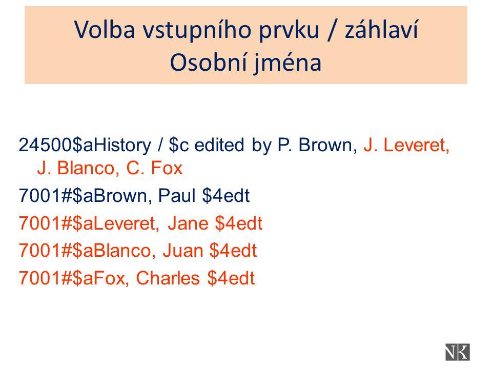 Volba vstupního prvku / záhlaví Osobní jména 24500$aHistory / $c edited by P. Brown, J. Leveret, J. Blanco, C. Fox 7001#$aBrown, Paul $4edt 7001#$aLev