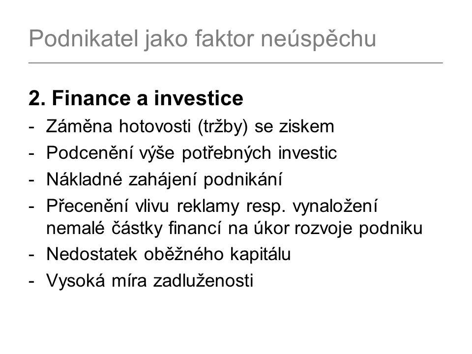 Podnikatel jako faktor neúspěchu _______________________________________________________________________ 2. Finance a investice -Záměna hotovosti (trž