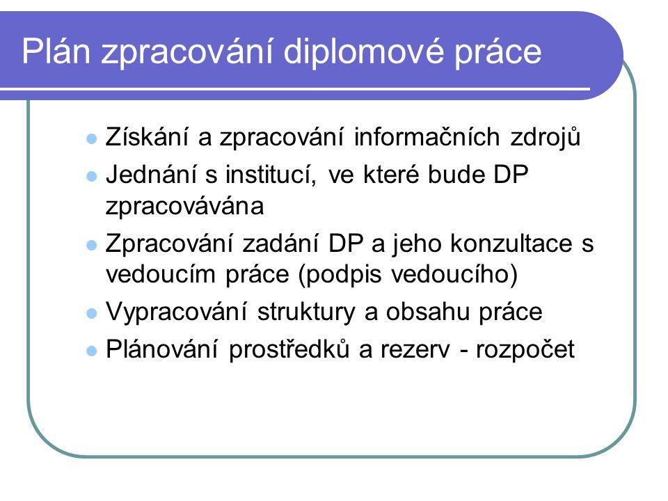 Plán zpracování diplomové práce Získání a zpracování informačních zdrojů Jednání s institucí, ve které bude DP zpracovávána Zpracování zadání DP a jeh