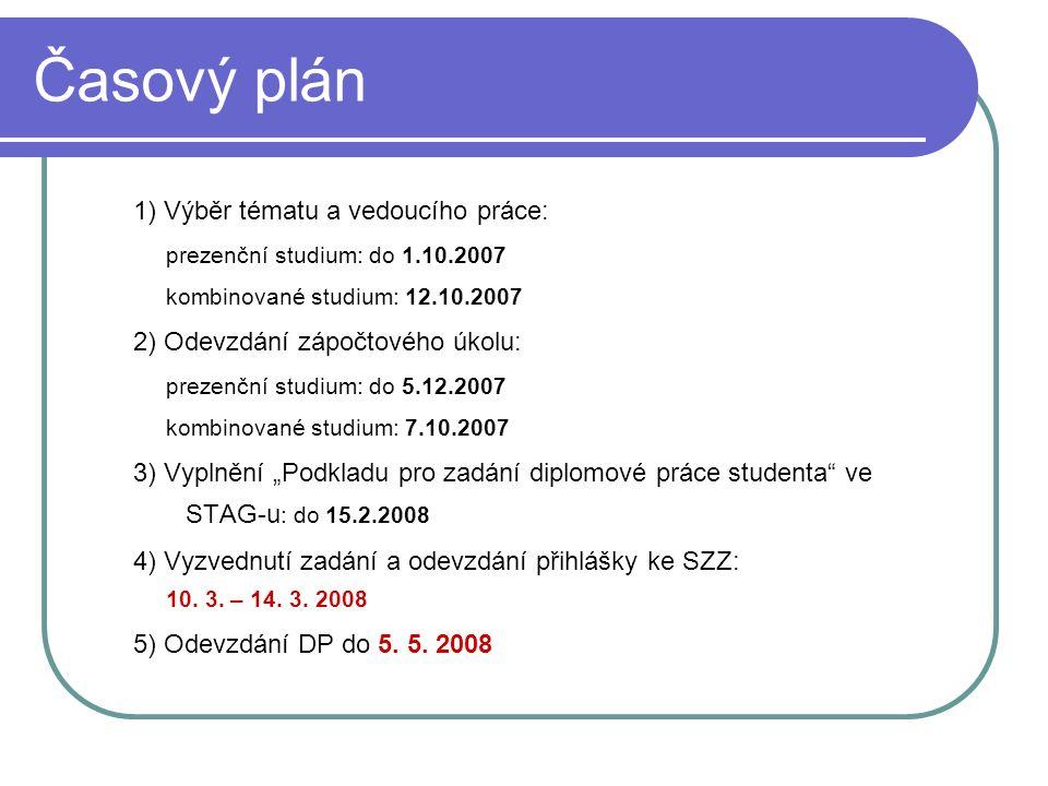 Časový plán 1) Výběr tématu a vedoucího práce: prezenční studium: do 1.10.2007 kombinované studium: 12.10.2007 2) Odevzdání zápočtového úkolu: prezenč