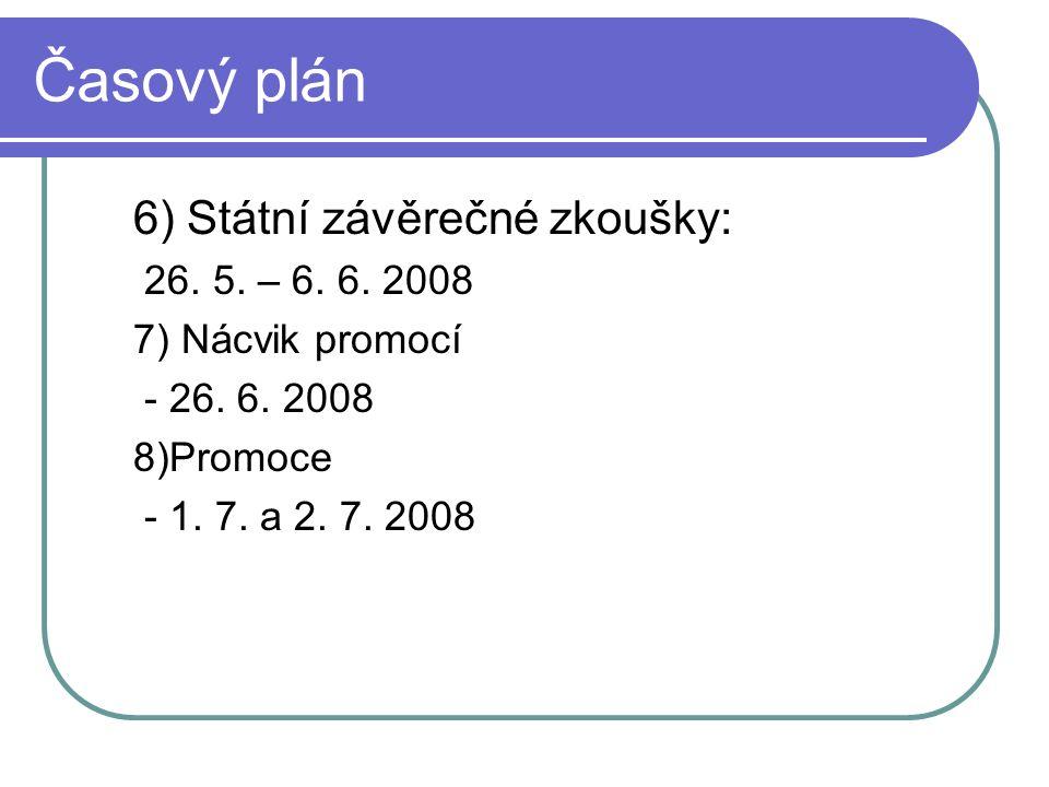 Časový plán 6) Státní závěrečné zkoušky: 26. 5. – 6. 6. 2008 7) Nácvik promocí - 26. 6. 2008 8)Promoce - 1. 7. a 2. 7. 2008