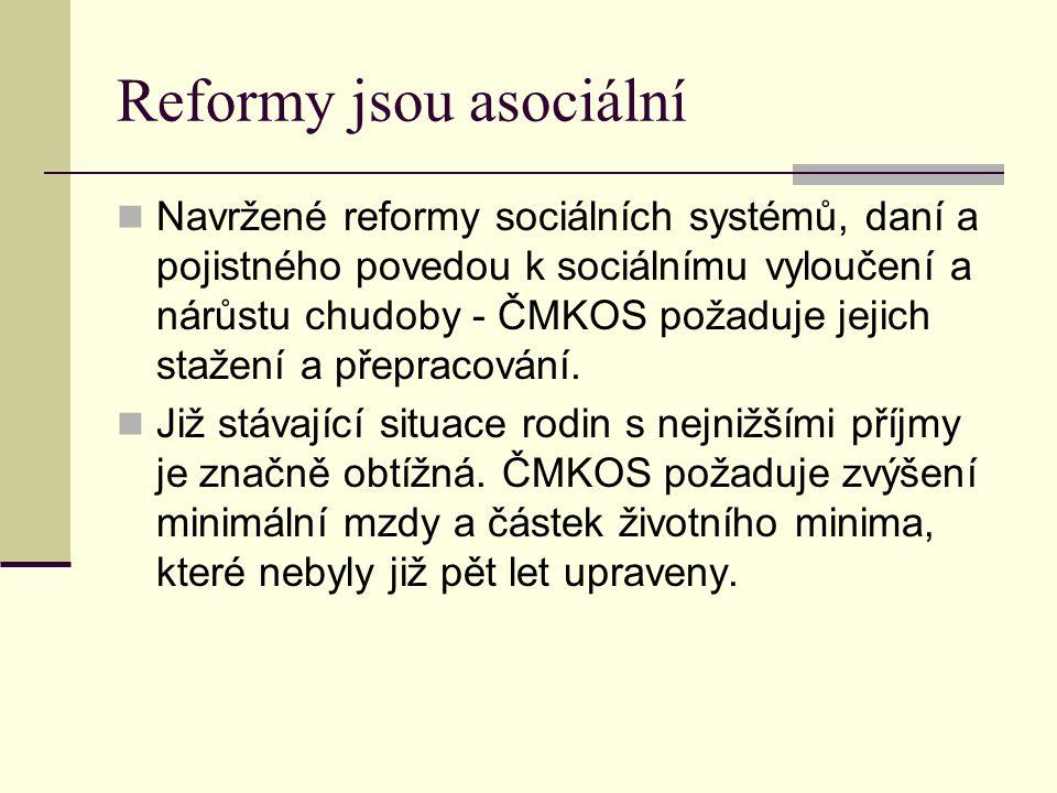 Reformy jsou asociální Navržené reformy sociálních systémů, daní a pojistného povedou k sociálnímu vyloučení a nárůstu chudoby - ČMKOS požaduje jejich stažení a přepracování.
