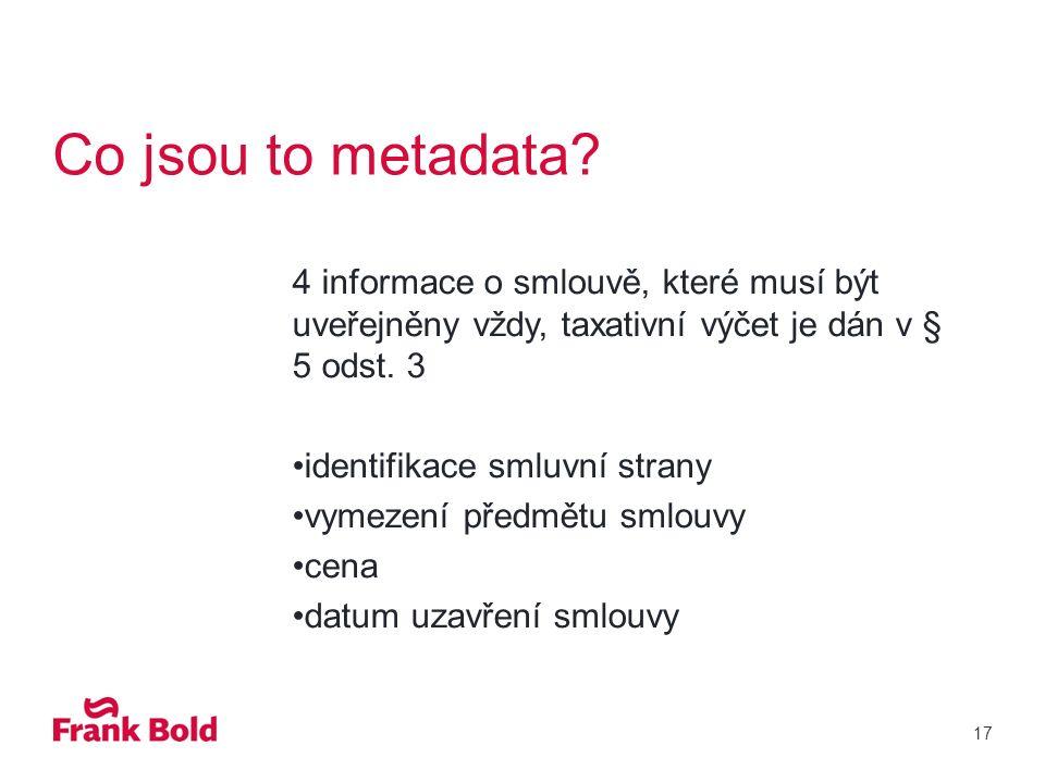 Co jsou to metadata.