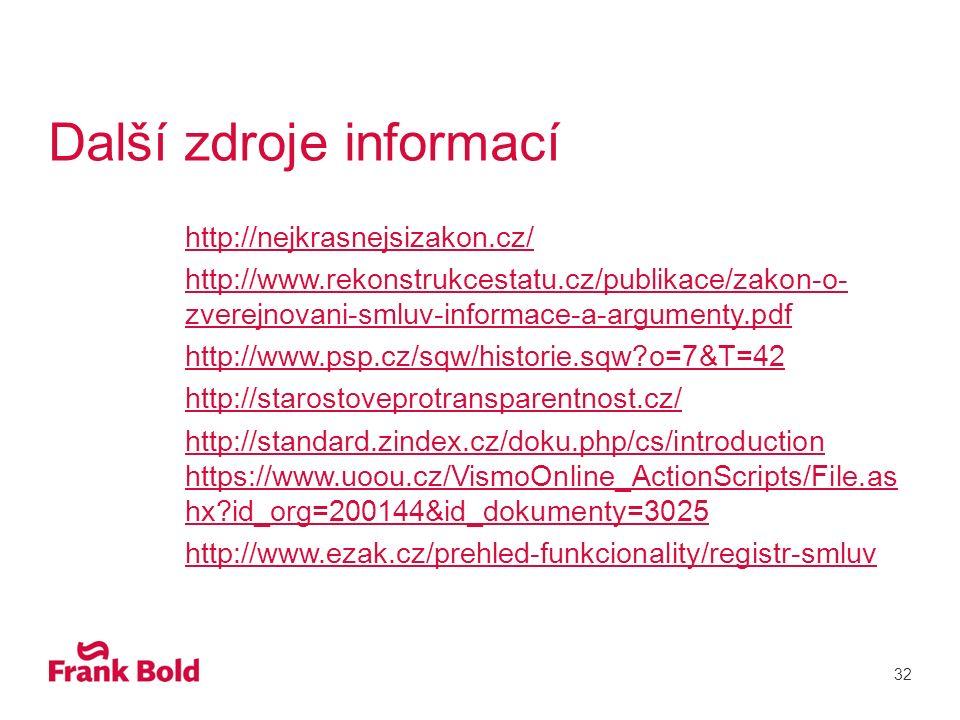 Další zdroje informací http://nejkrasnejsizakon.cz/ http://www.rekonstrukcestatu.cz/publikace/zakon-o- zverejnovani-smluv-informace-a-argumenty.pdf http://www.psp.cz/sqw/historie.sqw o=7&T=42 http://starostoveprotransparentnost.cz/ http://standard.zindex.cz/doku.php/cs/introduction https://www.uoou.cz/VismoOnline_ActionScripts/File.as hx id_org=200144&id_dokumenty=3025 http://www.ezak.cz/prehled-funkcionality/registr-smluv 32