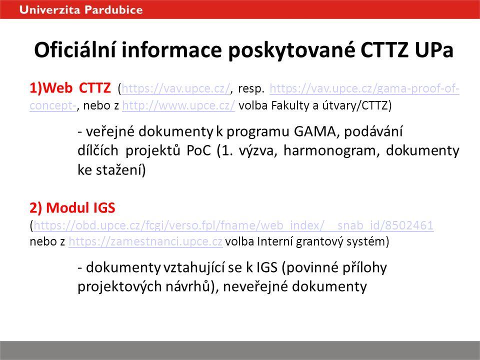Oficiální informace poskytované CTTZ UPa 1)Web CTTZ (https://vav.upce.cz/, resp.