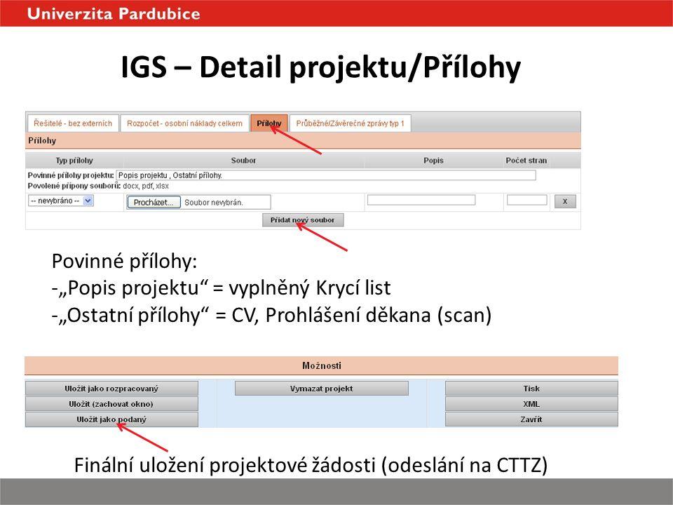 """IGS – Detail projektu/Přílohy Povinné přílohy: -""""Popis projektu = vyplněný Krycí list -""""Ostatní přílohy = CV, Prohlášení děkana (scan) Finální uložení projektové žádosti (odeslání na CTTZ)"""
