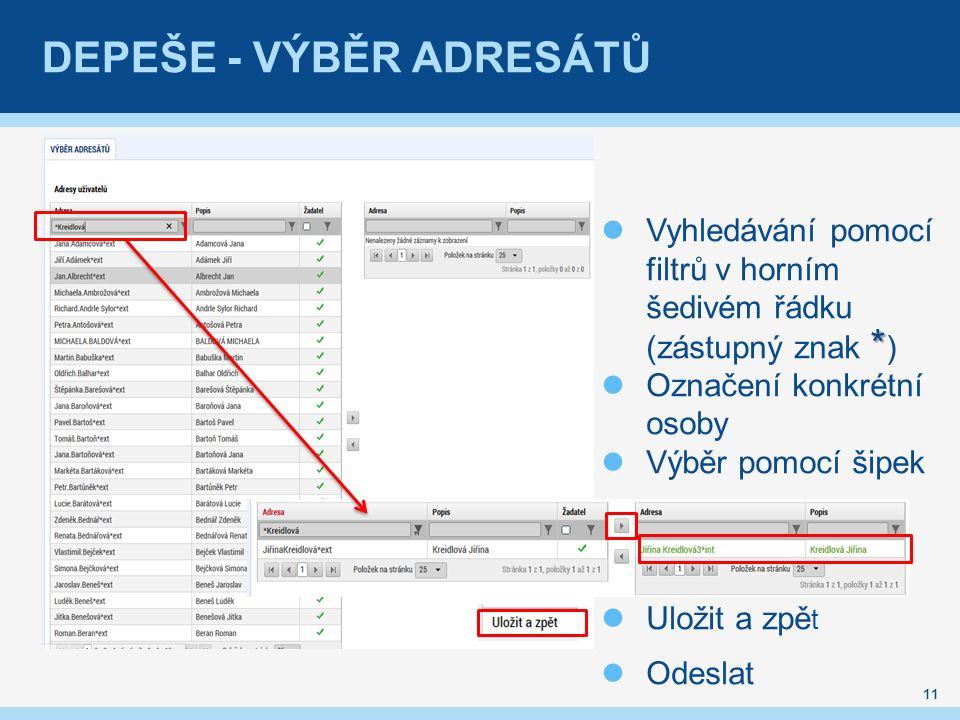 DEPEŠE - VÝBĚR ADRESÁTŮ 11 * Vyhledávání pomocí filtrů v horním šedivém řádku (zástupný znak * ) Označení konkrétní osoby Výběr pomocí šipek Uložit a zpě t Odeslat
