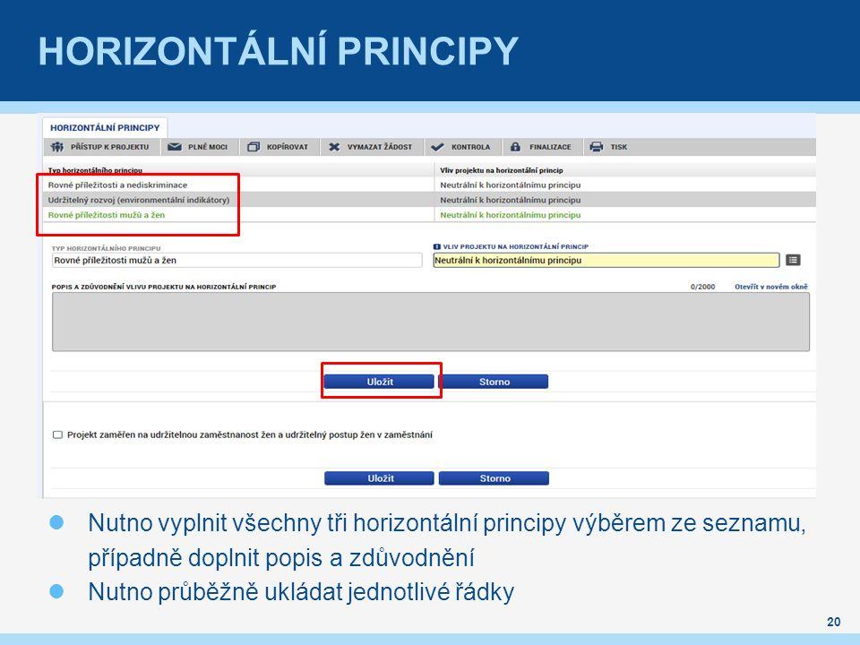 HORIZONTÁLNÍ PRINCIPY Nutno vyplnit všechny tři horizontální principy výběrem ze seznamu, případně doplnit popis a zdůvodnění Nutno průběžně ukládat jednotlivé řádky 20