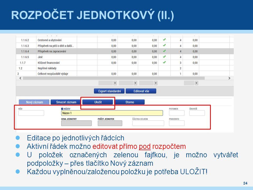 ROZPOČET JEDNOTKOVÝ (II.) Editace po jednotlivých řádcích Aktivní řádek možno editovat přímo pod rozpočtem U položek označených zelenou fajfkou, je možno vytvářet podpoložky – přes tlačítko Nový záznam Každou vyplněnou/založenou položku je potřeba ULOŽIT.