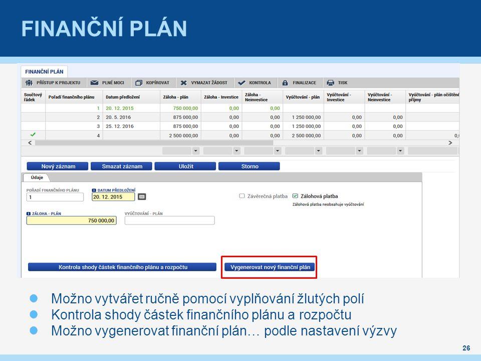 FINANČNÍ PLÁN 26 Možno vytvářet ručně pomocí vyplňování žlutých polí Kontrola shody částek finančního plánu a rozpočtu Možno vygenerovat finanční plán… podle nastavení výzvy