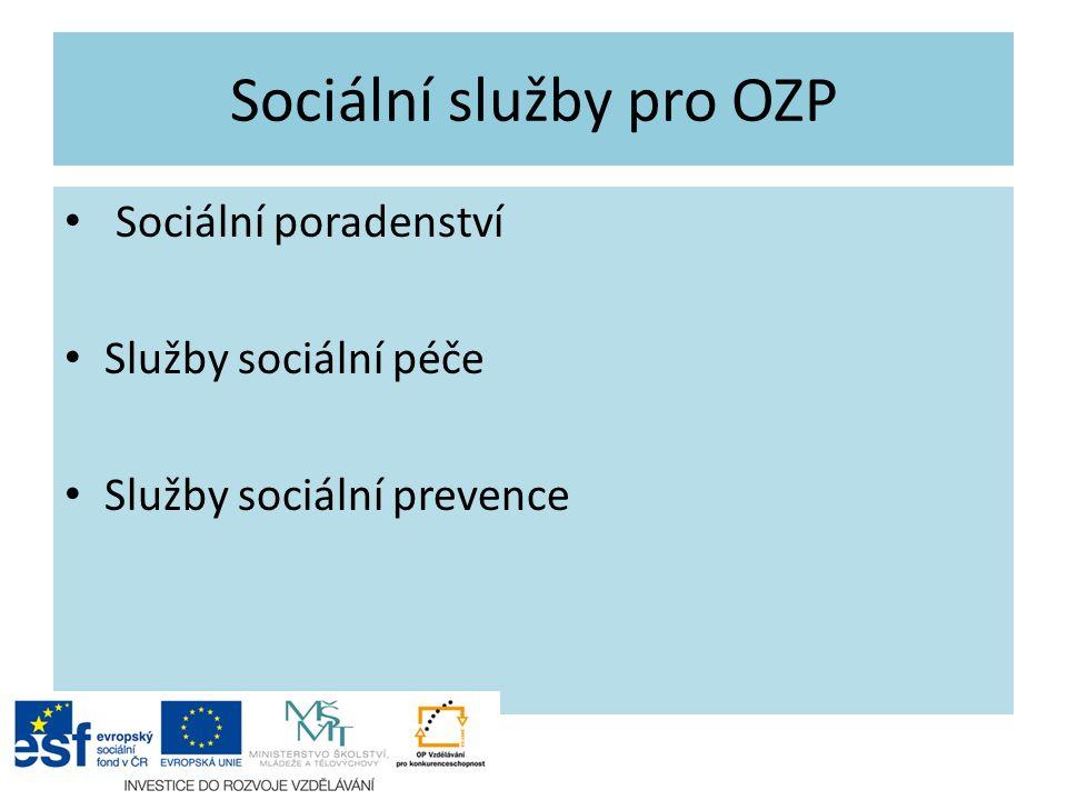 Sociální poradenství – a) všeobecné odborné poradenství poskytují ze zákona všichni poskytovatelé sociálních služeb (informace o sociálních dávkách, sociálních službách apod.) – b) specializované odborné poradenství - poskytují instituce, které mají zkušenosti s konkrétním typem zdravotního postižení, hlavně u méně častých typů postižení je pro jedince a jeho rodinu důležité získat přesné a správné informace a seznámit s nimi okolí (Paraple, Dobromysl).