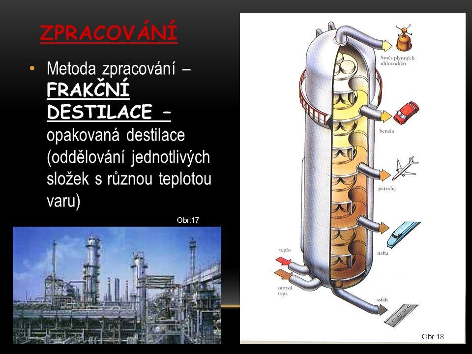 Metoda zpracování – FRAKČNÍ DESTILACE – opakovaná destilace (oddělování jednotlivých složek s různou teplotou varu) ZPRACOVÁNÍ Obr.17 Obr.18