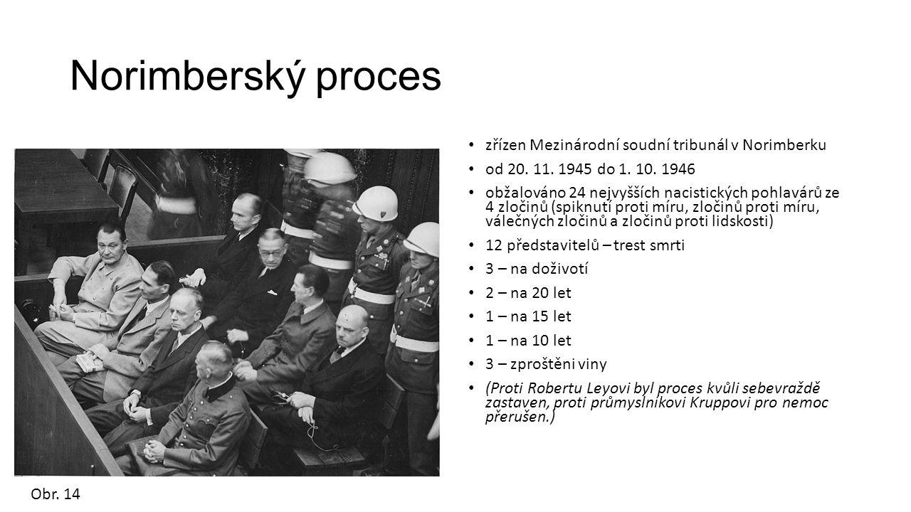 Norimberský proces zřízen Mezinárodní soudní tribunál v Norimberku od 20. 11. 1945 do 1. 10. 1946 obžalováno 24 nejvyšších nacistických pohlavárů ze 4