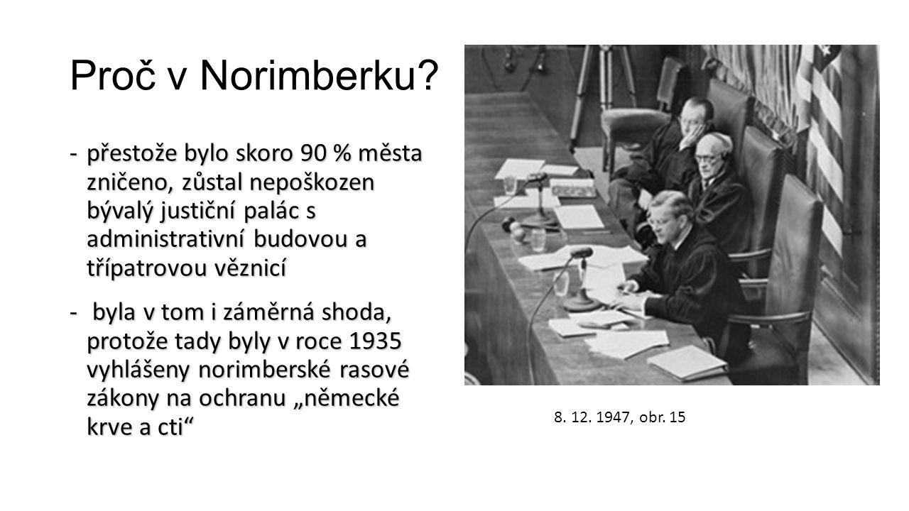 Proč v Norimberku? -přestože bylo skoro 90 % města zničeno, zůstal nepoškozen bývalý justiční palác s administrativní budovou a třípatrovou věznicí -