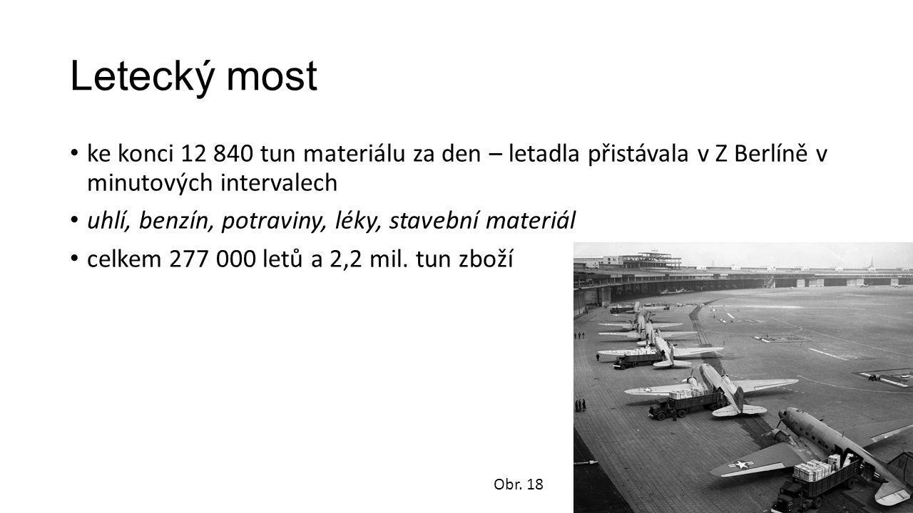 Letecký most ke konci 12 840 tun materiálu za den – letadla přistávala v Z Berlíně v minutových intervalech uhlí, benzín, potraviny, léky, stavební materiál celkem 277 000 letů a 2,2 mil.