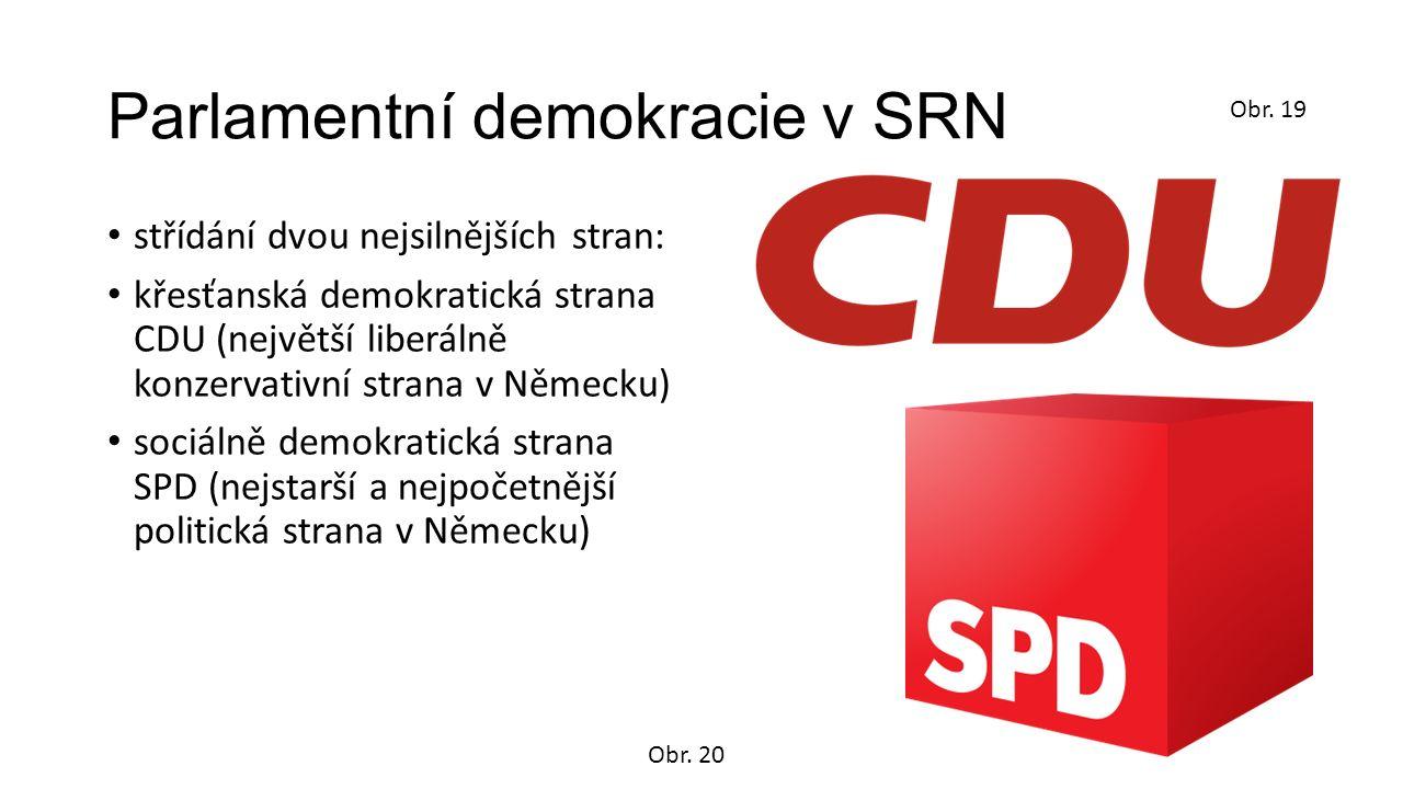 Parlamentní demokracie v SRN střídání dvou nejsilnějších stran: křesťanská demokratická strana CDU (největší liberálně konzervativní strana v Německu) sociálně demokratická strana SPD (nejstarší a nejpočetnější politická strana v Německu) Obr.