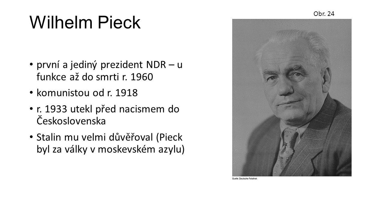 Wilhelm Pieck první a jediný prezident NDR – u funkce až do smrti r. 1960 komunistou od r. 1918 r. 1933 utekl před nacismem do Československa Stalin m
