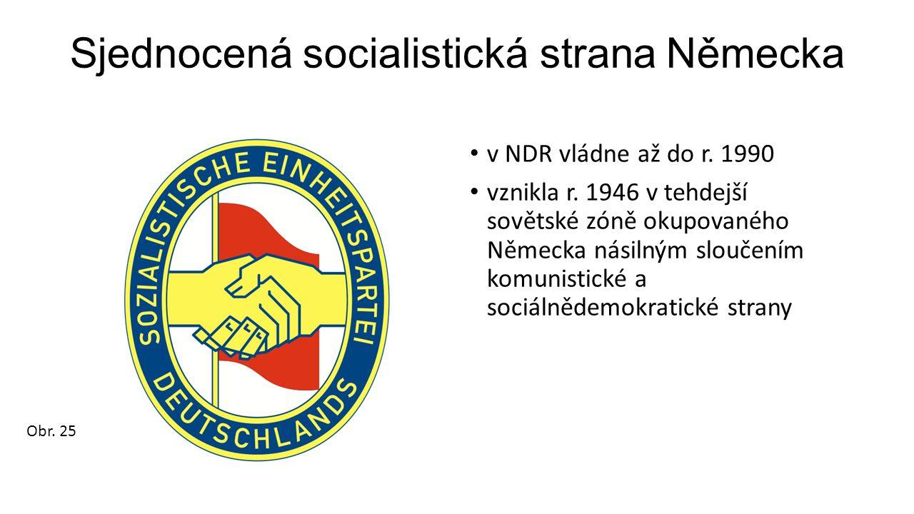 Sjednocená socialistická strana Německa v NDR vládne až do r. 1990 vznikla r. 1946 v tehdejší sovětské zóně okupovaného Německa násilným sloučením kom