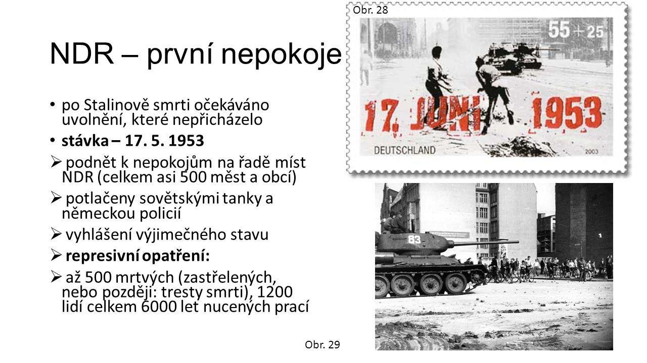 NDR – první nepokoje po Stalinově smrti očekáváno uvolnění, které nepřicházelo stávka – 17. 5. 1953  podnět k nepokojům na řadě míst NDR (celkem asi