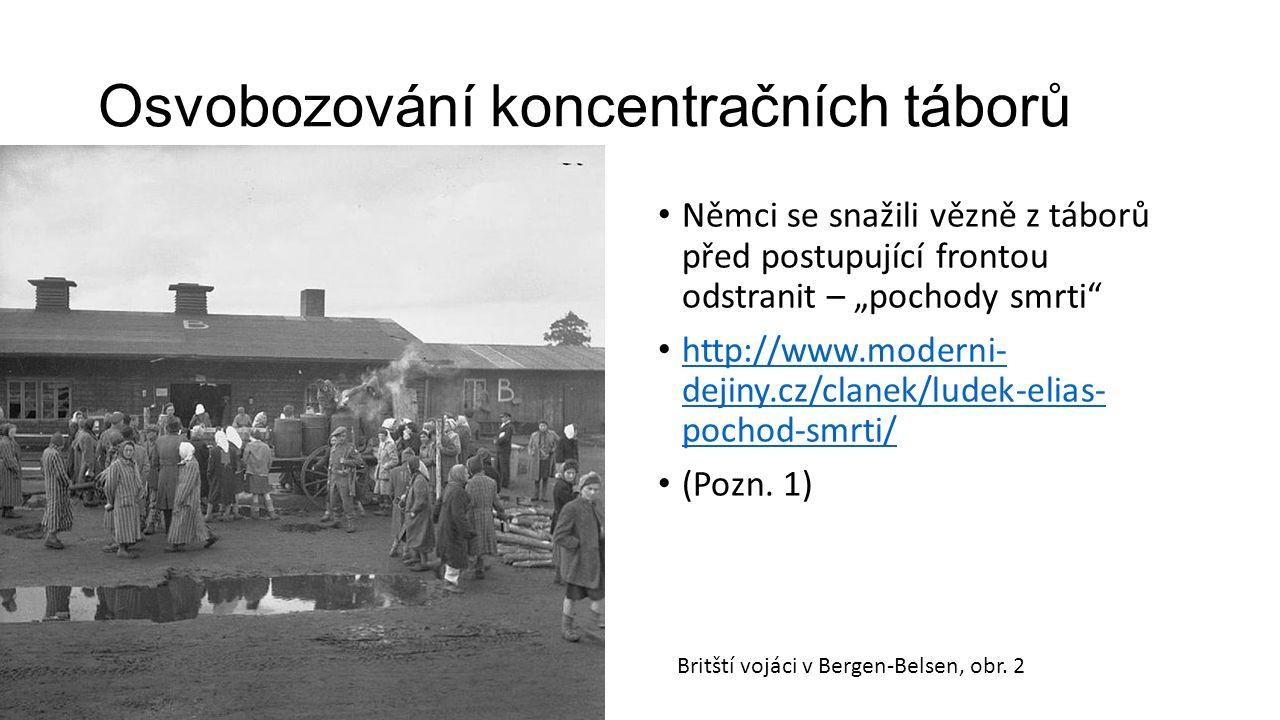 """Osvobozování koncentračních táborů Němci se snažili vězně z táborů před postupující frontou odstranit – """"pochody smrti"""" http://www.moderni- dejiny.cz/"""