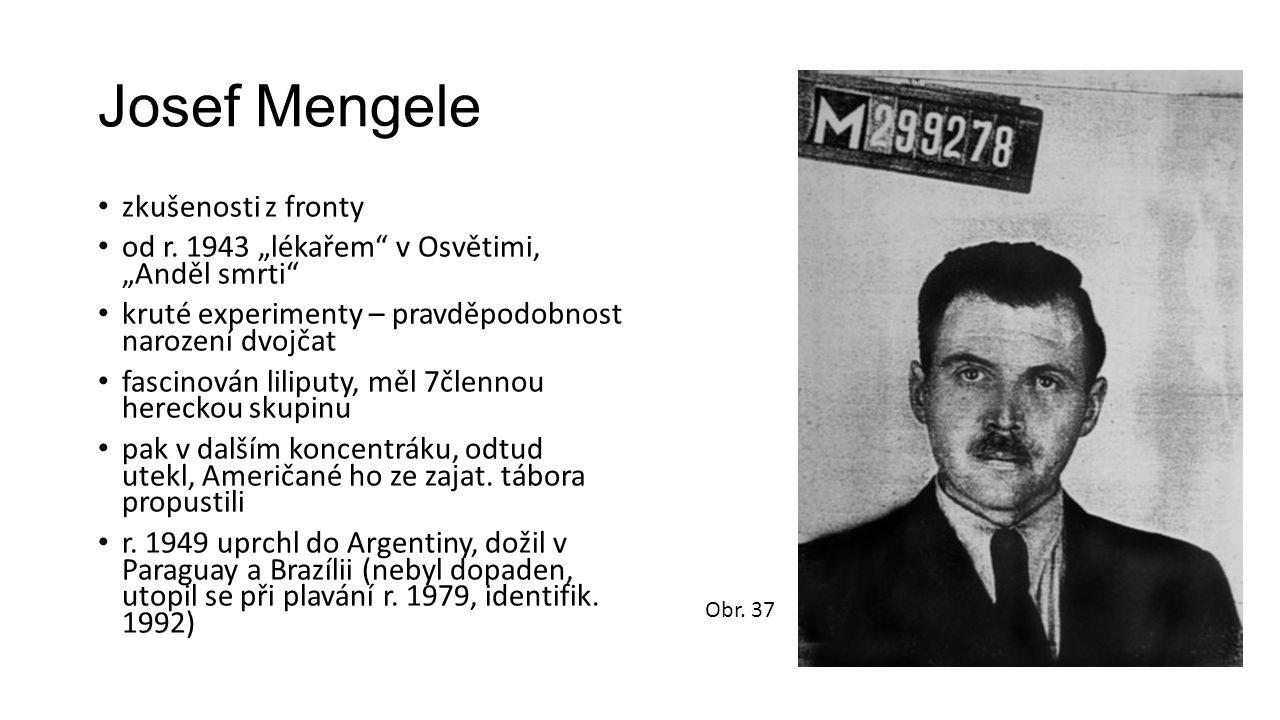 """Josef Mengele zkušenosti z fronty od r. 1943 """"lékařem"""" v Osvětimi, """"Anděl smrti"""" kruté experimenty – pravděpodobnost narození dvojčat fascinován lilip"""