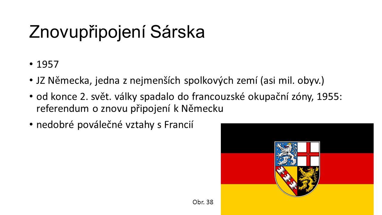 Znovupřipojení Sárska 1957 JZ Německa, jedna z nejmenších spolkových zemí (asi mil.